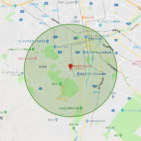 マカリイズマーケットより半径5km地図